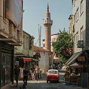View of Tahtar minaret in the old Greek quarter of Istanbul called Fener.