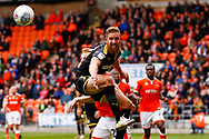 Wimbledon midfielder Scott Wagstaff (7) can't reach the crosss during the EFL Sky Bet League 1 match between Blackpool and AFC Wimbledon at Bloomfield Road, Blackpool, England on 20 October 2018.