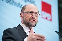 30 JAN 2017, BERLIN/GERMANY:<br /> Martin Schulz, SPD, Kanzlerkandidat und designierter Parteivorsitzender, waehrend einer Pressekonferenz nach der Klausurtagung der SPD Spitze, Willy-Brandt-Haus<br /> IMAGE: 20170130-01-019