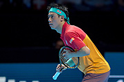 Kei Nishikori of Japan holds his racquet wrong during the Nitto ATP World Tour Finals at the O2 Arena, London, United Kingdom on 11 November 2018. Photo by Martin Cole