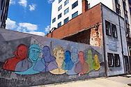 WASHINGTON - JUNE 30, 2019: A mural bringing awareness to the homeless painted by artist Rose Jaffe is seen June 30, 2019, on a wall next to the Mitch Snyder Art & Education Center in Washington, D.C.
