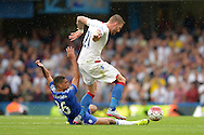 Ruben Loftus-Cheek of Chelsea tackles Connor Wickham of Crystal Palace. Barclays Premier League, Chelsea v Crystal Palace at Stamford Bridge in London on Saturday 29th August 2015.<br /> pic by John Patrick Fletcher, Andrew Orchard sports photography.