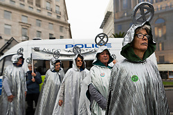 © Licensed to London News Pictures. 07/10/2019. London, UK. Environmental Extinction Rebellion protesters take part in demonstrations bringing disruption to central London. The aims of the group are to blockade the Westminster area for two weeks highlighting the urgency for the government demand governments take immediate and decisive action on the climate and ecological emergency. Photo credit: Ray Tang/LNP