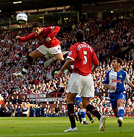 Photo: Jed Wee.<br />Manchester United v Blackburn Rovers. The Barclays Premiership. 24/09/2005.<br /><br />Manchester United's Cristiano Ronaldo rises high to direct a header towards goal.