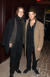 Left to right, SEAN BROSNAN son of actor Pierce Brosnan and BRAWLEY NOLTE son of actor Nick Nolte at a launch party for Kraken Opus's new luxury sports books held at Sketch, 9 Conduit Street, London W1 on 22nd February 2006.<br />