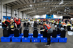 Edinburgh, Scotland, UK. 12th December 2019. Ballot boxes on arrival at Parliamentary General Election Count at the Royal Highland Centre in Edinburgh. Iain Masterton/Alamy Live News