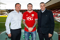 Lee Tomlin is welcomed to Ashton Gate by Chief Operating Officer Mark Ashton and interim manager John Pemberton after joining Bristol City on loan from AFC Bournemouth - Mandatory byline: Rogan Thomson/JMP - 27/01/2016 - FOOTBALL - Ashton Gate Stadium - Bristol, England - Bristol City New Signings.