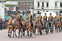LONDON - JUNE 05: The King's Troop, Royal Horse Artillery, The Queen's Diamond Jubilee, The Mall, London, UK. June 05, 2012. (Photo by Richard Goldschmidt)