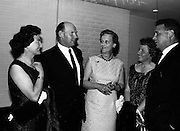 20/5/1965<br /> 5/20/1965<br /> 20 May 1965<br /> <br /> Mrs. T. Walsh; Mr. Eamonn Ceannt, Deputy Director General An bórd Failte; Mrs Norman Judd QWife of the Chairman of the Irish Hide Improvement Society;Mrs E. Ceannt and Dr. Tom Walsh Director Agricultural Institute Chatting at a dinner given by the Irish Hide Improvement Society for the conference delegates at Jury's Hotel