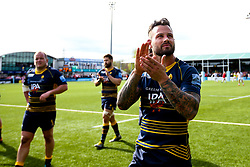 Francois Hougaard of Worcester Warriors celebrates beating Gloucester Rugby and securing Premiership Rugby status - Mandatory by-line: Robbie Stephenson/JMP - 28/04/2019 - RUGBY - Sixways Stadium - Worcester, England - Worcester Warriors v Gloucester Rugby - Gallagher Premiership Rugby