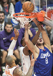 October 21, 2017 - Los Angeles, California, U.S - Danilo Gallinari #8 of the Los Angeles Clippers goes for a layup during their first regular season game against the Phoenix Suns on Saturday October 21, 2017 at the Staples Center in Los Angeles, California. Clippers defeat Suns, 130-88. (Credit Image: © Prensa Internacional via ZUMA Wire)