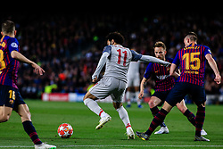 May 1, 2019 - Barcelona, BARCELONA, Spain - 11 Mohamed Salah of Liverpool FC defended by 15 Lenglet of FC Barcelona, 18 Jordi Alba of FC Barcelona and 04 Ivan Rakitic of FC Barcelona during the UEFA Champions League first leg match of Semi final between FC Barcelona and Liverpool FC in Camp Nou Stadium in Barcelona 01 of May of 2019, Spain. (Credit Image: © AFP7 via ZUMA Wire)