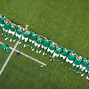 The Irish team sing the national anthem before the Ireland V Italy Pool C match during the IRB Rugby World Cup tournament. Otago Stadium, Dunedin, New Zealand, 2nd October 2011. Photo Tim Clayton...