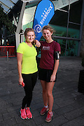 NO FEE PICTURES <br /> 1/1/15 Sarah Hawkshaw (yellow top), Portmarnock and Sarah McCaffrey, Clontarf at the Resolution Day New Years Day fun run at the CHQ building in Dublin. Picture:Arthur Carron