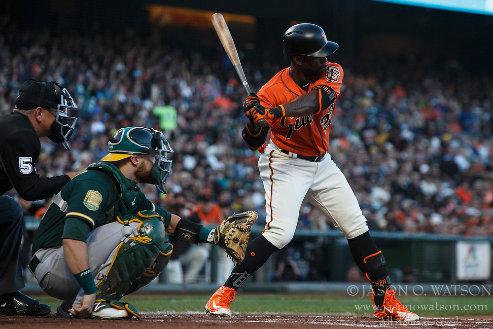 SAN FRANCISCO, CA - JULY 13: Andrew McCutchen #22 of the San Francisco Giants at bat against the Oakland Athletics during the first inning at AT&T Park on July 13, 2018 in San Francisco, California. The San Francisco Giants defeated the Oakland Athletics 7-1. (Photo by Jason O. Watson/Getty Images) *** Local Caption *** Andrew McCutchen