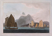 THE Chinese vessels, though presenting greater variety in size and structure than the Malay proas, are almost equally inferior to the marine architecture of Europe. The frame, or, more properly speaking, the hull, of these boats, consists of five planks corresponding at each end, the edges being joined together by wooden pins and stitched with threads of the bamboo. colour print from the book ' A Picturesque Voyage to India by Way of China  ' by Thomas Daniell, R.A. and William Daniell, A.R.A. London : Printed for Longman, Hurst, Rees, and Orme, and William Daniell by Thomas Davison, 1810. The Daniells' original watercolors for the scenes depicted herein are now at the Yale Center for British Art, Department of Rare Books and Manuscripts,