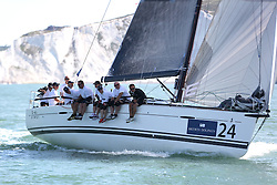 Brewin Dolphin Scottish Series 2014, the start of an International IRC competition racing on the Solent off Cowes and hosted by the RORC.<br /> <br /> Stevie Cowie and Ian Budgen on Team Scotland's, Zephyr, a First 40, during the Offshore race into the Channel<br /> <br /> Credit.  Marc Turner