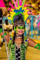 Flag bearer, Mangueira do Amanha (Mangueira of Tomorrow),  samba school performs in the children's Carnaval Parade, Sambadrome, Rio de Janeiro, Brazil.