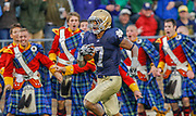 With the Notre Dame Irish Guard cheering him on, TJ Jones comes out in the second half and catches a pass for a touchdown as Notre Dame mounts a comeback against Michigan Saturday at Notre Dame Stadium.