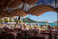 The beach in front of the Royal Hawaiian Hotel in Waikiki, Oahu as viewed from the Mai Tai Bar