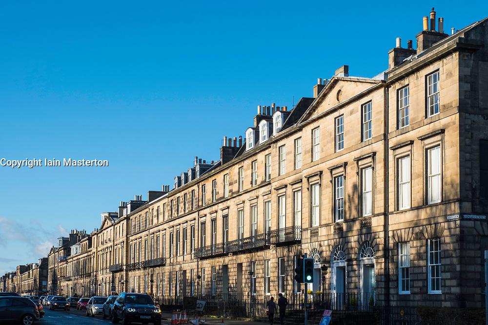 Row of Georgian terraced townhouses on Heriot Row in Edinburgh New Town,  Scotland, United Kingdom.
