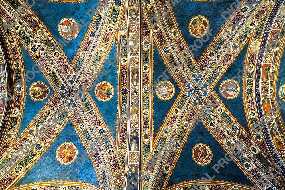 Ceiling detail of Il Pellegrinaio (The Pilgrim) room of Santa Maria della Scala Museum Siena Italy