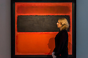 "Mark Rothko (1903 -1970), No. 36 (Black Stripe), 1958 (est: $30-50 million) - Preview of almost fifty works from Christie's spring sales in New York of Impressionist, Modern, Post-War And Contemporary Art. The most expensive work is Les femmes d'Alger (Version ""O""), 1955, by Pablo Picasso (1881-1973), estimate $140million. Other highlights include: Pablo Picasso (1881-1973), Femme à la résille, 1938 (est $55 million); Mark Rothko (1903 -1970), No. 36 (Black Stripe), 1958 (est: $30-50 million); Andy Warhol (1928-1987), Colored Mona Lisa, 1963 (est $40 million); Claude Monet (1840-1926), Le Parlement, soleil couchant, 1902 (est: $35-45 million); Jean Dubuffet, Paris Polka, 1961 (est $25 million); Piet Mondrian (1872-1944), Composition No.III (Composition with Red, Blue, Yellow and Black), 1929 (est: $15-25million); and Amedeo Modigliani (1884-1920), Portrait de Béatrice Hastings, 1916 (est $7-10million) from the Collection of John C. Whitehead. The works will be on view to the public from 11 to 16 April at Christie's King Street, London."