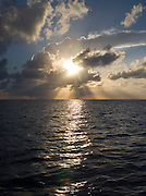 Sunset, rays over ocean<br />