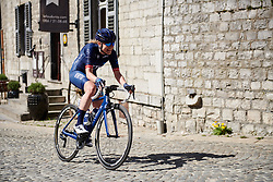 Doris Schweizer (SUI) lead goes up to over a minute at La Flèche Wallonne Femmes 2018, a 118.5 km road race starting and finishing in Huy on April 18, 2018. Photo by Sean Robinson/Velofocus.com
