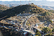 The camp sites of thousands of Mexican cowboys on Cubilete Mountain at the end of the annual Cabalgata de Cristo Rey pilgrimage January 6, 2017 in Guanajuato, Mexico. Thousands of Mexican cowboys take part in the three-day ride to the mountaintop shrine of Cristo Rey.