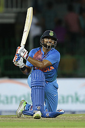 March 14, 2018 - Colombo, Sri Lanka - Indian cricketer Suresh Raina plays a shot during the 5th Twenty-20 cricket match of NIDAHAS Trophy between Bangladesh and India at R Premadasa cricket ground, Colombo, Sri Lanka on Wednesday 14 March 2018. (Credit Image: © Tharaka Basnayaka/NurPhoto via ZUMA Press)