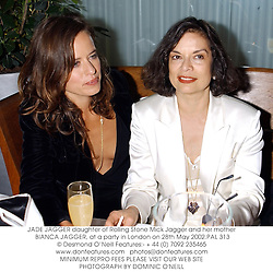 JADE JAGGER daughter of Rolling Stone Mick Jagger and her mother BIANCA JAGGER, at a party in London on 28th May 2002.PAL 313