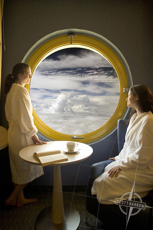 The ultimate first class cabin seats.  High above the clouds.