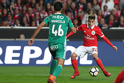February 3, 2018 - Lisbon, Portugal - Benfica's Argentine forward Franco Cervi vies with Rio Ave's defender Marcelo (L) during the Portuguese League football match SL Benfica vs Rio Ave FC at the Luz stadium in Lisbon on February 3, 2018. (Credit Image: © Pedro Fiuza/NurPhoto via ZUMA Press)