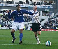 Photo: Steve Bond.<br />Derby County v Everton. The FA Barclays Premiership. 28/10/2007. Kenny Miller (R) battles with Joleon Lescott (L0
