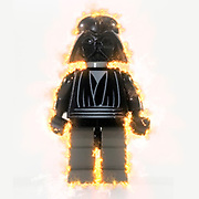 Digitally enhanced image of Darth Vader Star wars action figure