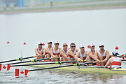 Shunyi, CHINA.  Start of a heat of the men's eights,   CAN M8+, (b) LIGHT Kevin, RUTLEDGE Ben. BYRNES Andrew, WETZEL Jake, HOWARD Malcolm, SEITERLE Dominic, KREEK Adam,  HAMILTON Kyle and cox PRICE Brian,  move away from the start pontoon. 2008 Olympic Regatta, Shunyi Rowing Course. Monday. 11.08.2008  [Mandatory Credit: Peter SPURRIER, Intersport Images]