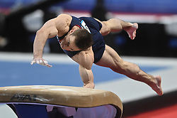 March 2, 2019 - Greensboro, North Carolina, US - SAM MIKULAK competes on the vault at the Greensboro Coliseum in Greensboro, North Carolina. (Credit Image: © Amy Sanderson/ZUMA Wire)