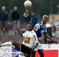 Fotball , 19 august 2007 , Adeccoligaen , Hønefoss - Molde 3-0<br /> <br /> Marcus Andreasson  , Molde og  Umaru Bangura , Hønefoss