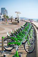 Rental bikes at a Tel-O-Fun rental station on the corniche in Tel Aviv, Israel. The bike share program is popular in Tel Aviv.