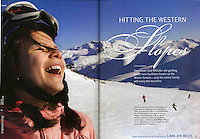 During a pause in a day snowboarding on Whistler mountain Taylor shares a joke with camera-holding Mom, and the image is printed in many publications, including this one for AirMiles magazine.
