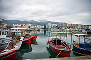 Volos fishing harbour with Christmas tree in the background
