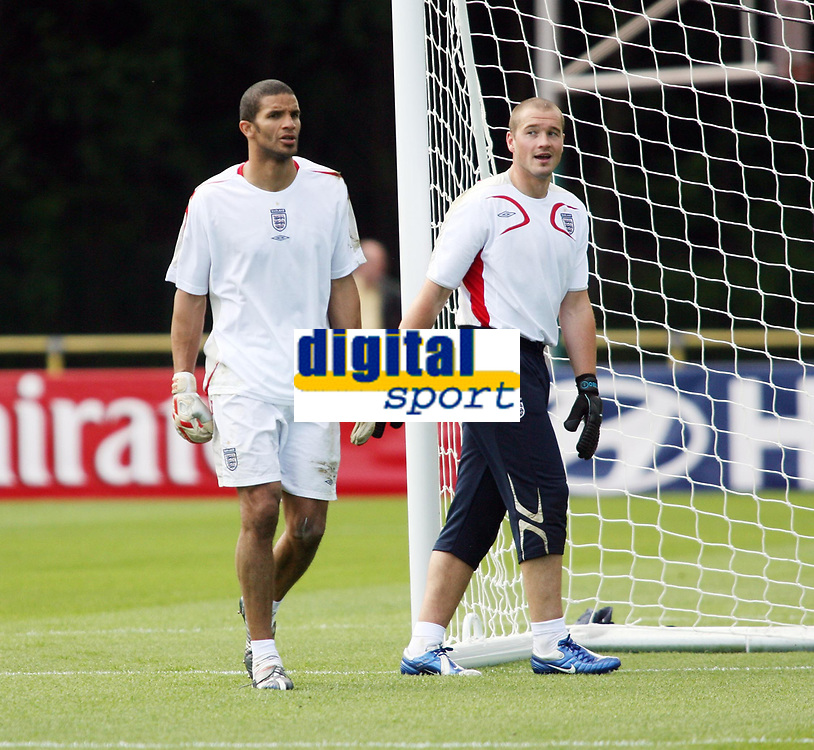 Photo: Chris Ratcliffe.<br />England training session. 06/06/2006.<br />Paul Robinson (R) watches David James closely as England's warm up begins in the mountains of the Black Forest in Buhlertal.