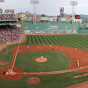A panoramic view from the stands during the Boston Red Sox V Tampa Bay Rays, Major League Baseball game on Jackie Robinson Day, Fenway Park, Boston, Massachusetts, USA, 15th April, 2013. Photo Tim Clayton.Note to Editors. This image is a composite of two images taken a split second apart and merged in editing.