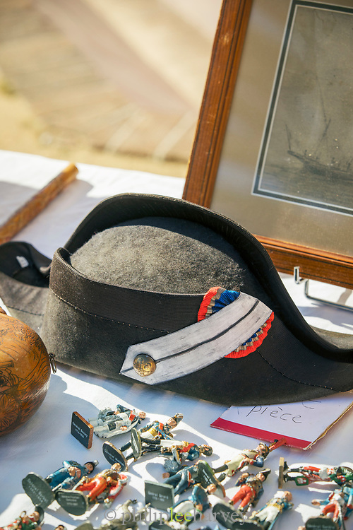 Close up of market stall with antique, old-fashioned display, Ajaccio, Corsica, France