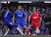 Photo: Tony Oudot/Sportsbeat Images.<br /> Chelsea v Liverpool. Carling Cup, Quarter Final. 19/12/2007.<br /> Yossi Benayoun of Liverpool is challenged to the ball by Steve Sidwell and Michael Essien of Chelsea