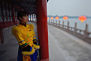 Qiongdao (Jade Island) in Beihai Lake. Fangshan Imperial Food Restaurant.