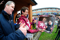 Jockey J J Slevin and trainer Gordn Elliott celebrate with the trophy for the Boyesports Irish Grand National Chase, during BoyleSports Irish Grand National Day of the 2018 Easter Festival at Fairyhouse Racecourse, Ratoath, Co. Meath.