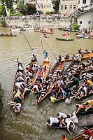 Tübinger Stocherkahnrennen (Stocherkahn boat) race on the Neckar river occurs annually on the 2nd Thursday in June (sat '08) in Tuebingen, Germany