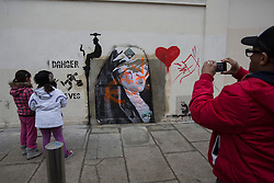 © licensed to London News Pictures. London, UK 26/02/2013. More graffitis appear at the site of 'stolen' mural of Banksy in Turnpike Lane, London. Photo credit: Tolga Akmen/LNP